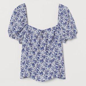 H&M Floral Creped Blouse Sz XS